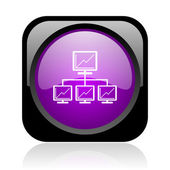 Network black and violet square web glossy icon — Stock Photo
