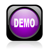 Demo black and violet square web glossy icon — Stock Photo