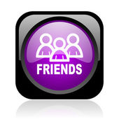 Friends black and violet square web glossy icon — Stock Photo