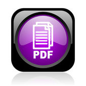 Pdf black and violet square web glossy icon — Stock Photo