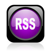 Rss black and violet square web glossy icon — Stock Photo