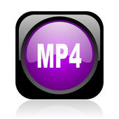 Mp4 black and violet square web glossy icon — Stock Photo