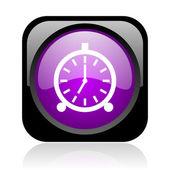 Alarm clock black and violet square web glossy icon — Stock Photo