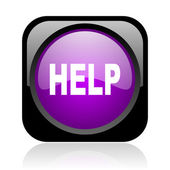 Help black and violet square web glossy icon — Stock Photo