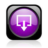 выход глянцевый черный и фиолетовый квадратных веб-значок — Стоковое фото