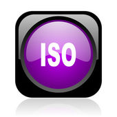 Iso black and violet square web glossy icon — Stock Photo