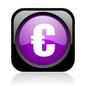 Euro black and violet square web glossy icon — Stock Photo