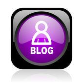 Blog czarny i fioletowy placu www błyszczący ikona — Zdjęcie stockowe