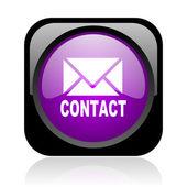 связаться глянцевый черный и фиолетовый квадратных веб-значок — Стоковое фото
