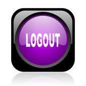 ログアウト ブラックとバイオレット平方 web 光沢のあるアイコン — ストック写真