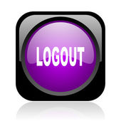 Logout black and violet square web glossy icon — Stock fotografie