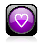 Heart black and violet square web glossy icon — Stock Photo