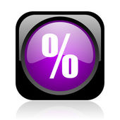 Percent black and violet square web glossy icon — Stock Photo