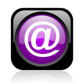 At black and violet square web glossy icon — Stock Photo