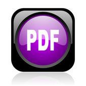 Pdf black and violet square web glossy icon — Stock Photo