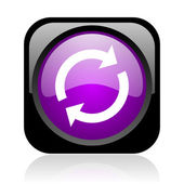 Reload black and violet square web glossy icon — Stock Photo