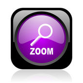 Zoom black and violet square web glossy icon — Stock Photo