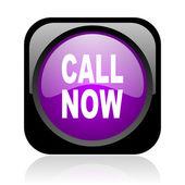 звоните сейчас черный и фиолетовый квадратных веб глянцевой значок — Стоковое фото