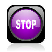 Stop black and violet square web glossy icon — Stock Photo