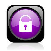 Padlock black and violet square web glossy icon — Stock Photo