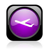 Avião preto e violeta quadrado brilhante ícone web — Fotografia Stock
