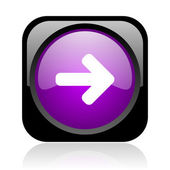 Arrow right black and violet square web glossy icon — Stock Photo