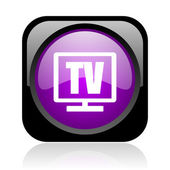Tv black and violet square web glossy icon — Stock Photo