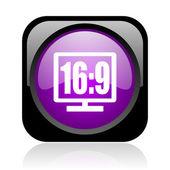 16 9 显示黑色和紫色方形 web 光泽图标 — 图库照片