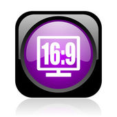 16 9 display black and violet square web glossy icon — Stock Photo