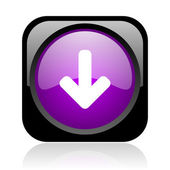 Arrow down black and violet square web glossy icon — Stock Photo