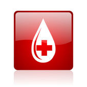 Blood red square web glossy icon — 图库照片