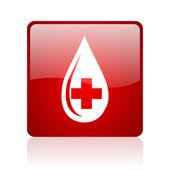 血の赤い正方形ウェブ光沢のあるアイコン — ストック写真