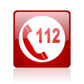 Emergency call red square web glossy icon — Stock Photo
