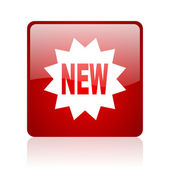 New red square web glossy icon — Stock Photo