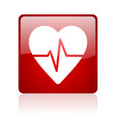 Cardiogram red square web glossy icon — Stock Photo