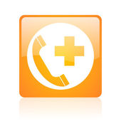 Emergency call orange square web glossy icon — Stock Photo