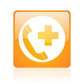 Emergency call orange square web glossy icon — Foto Stock