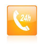 Service orange square web glossy icon — Foto Stock