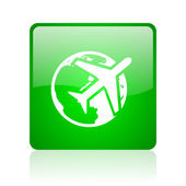 Travel green square web glossy icon — Stock Photo