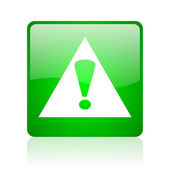 Warning green square web glossy icon — Stock Photo