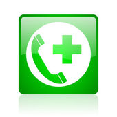 Emergency call green square web glossy icon — Stock Photo