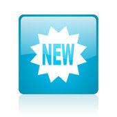 Novo ícone de web quadrado azul brilhante — Foto Stock