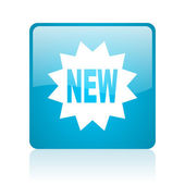 New blue square web glossy icon — Stock Photo