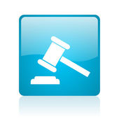 Law blue square web glossy icon — Stock Photo