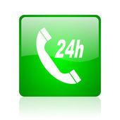 Service green square web glossy icon — Stock Photo