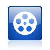 Film mavi kare web parlak simgesi — Stok fotoğraf