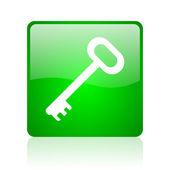 Lesklý ikona klíče zelené náměstí webové — Stock fotografie