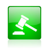 Law green square web glossy icon — Stock Photo