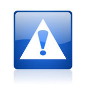 Warning blue square web glossy icon — Stock Photo