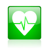 Cardiogram green square web glossy icon — Stock Photo